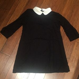 Black lace dress with white collar